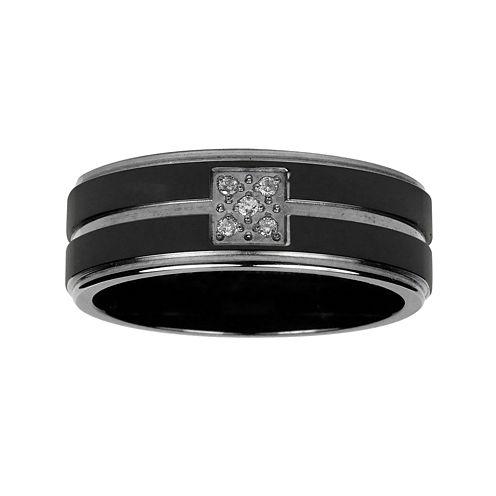 Mens Diamond Accent Black Titanium Wedding Band