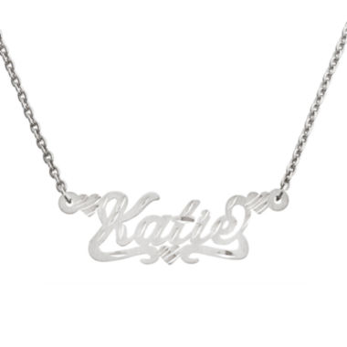 jcpenney.com | Personalized 12x36mm Satin Diamond-Cut Name Necklace
