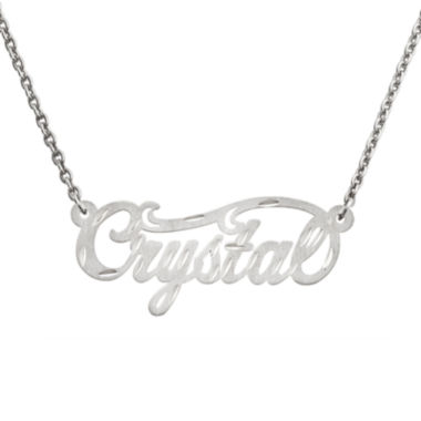 jcpenney.com | Personalized 14x37mm Satin Diamond-Cut Name Necklace