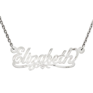 jcpenney.com | Personalized 13x35mm Diamond-Cut Scroll Name Necklace