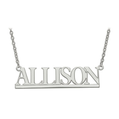 jcpenney.com | Personalized Sterling Silver 46x12mm Bamberg Font Name Necklace