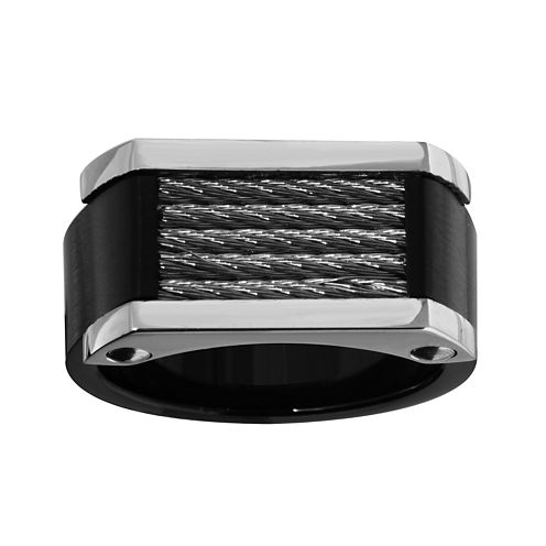 Mens Stainless Steel and Black Ion-Plated Ring
