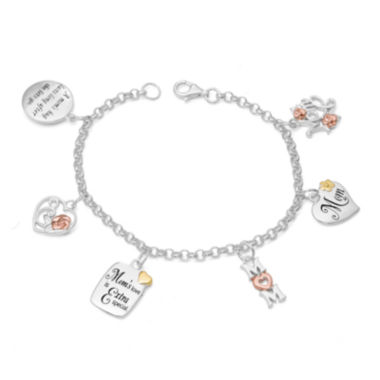jcpenney.com | Sterling Silver and 14K Gold Over Silver Mom Charm Bracelet