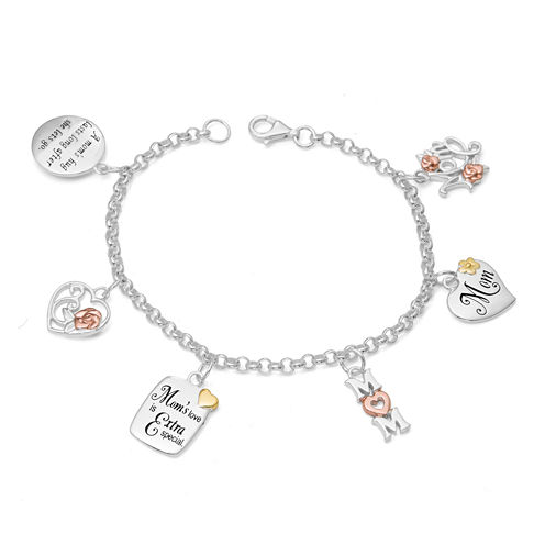 Sterling Silver and 14K Gold Over Silver Mom Charm Bracelet