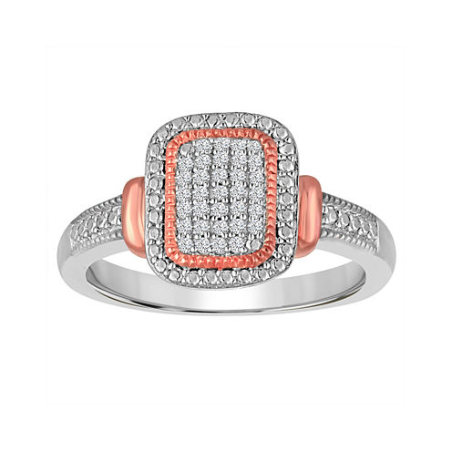 1/10 C.T. TW. Diamond Sterling Silver with 14K Rose Gold Accent Ring