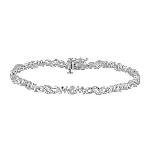 1/10 CT. T.W. Diamond Silver Over Brass Link Bracelet