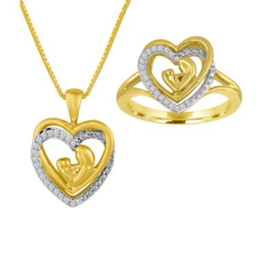 jcpenney.com | ForeverMine® 1/10 CT. T.W. Diamond 14K Yellow Gold Over Silver 2-pc. Boxed Set