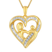 1/4 CT. T.W. Diamond 14K Yellow Gold Over Silver Heart Pendant Necklace