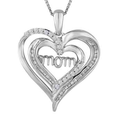 jcpenney.com | 1/4 CT. T.W. Diamond Sterling Silver Double-Heart Mom Pendant Necklace