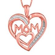 ForeverMine® 1/10 CT. T.W. Diamond 14K Rose Gold Over Silver Heart Pendant