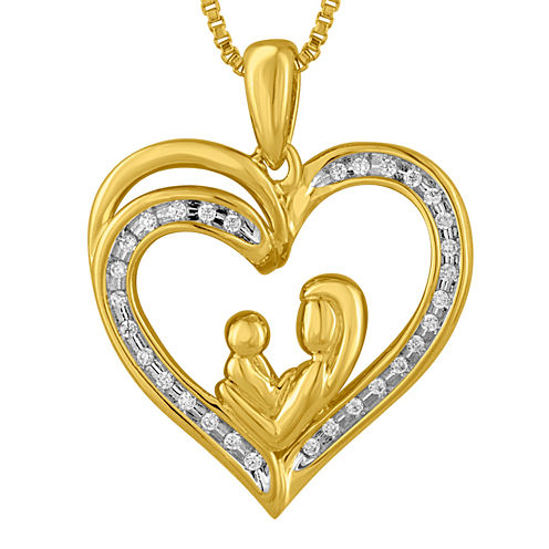 1/10 CT. T.W. Diamond 14K Yellow Gold Over Silver Heart Pendant Necklace