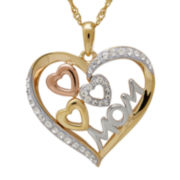 Crystal 14K Tri-Color Gold Over Silver Triple-Heart Mom Pendant Necklace