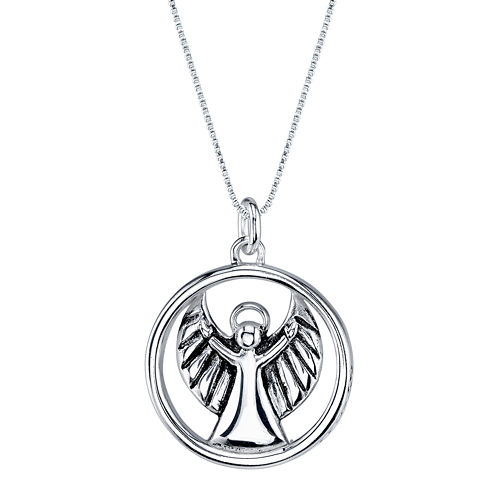 "Inspired Moments™ Sterling Silver ""Angel Watch Over Me"" Pendant Necklace"