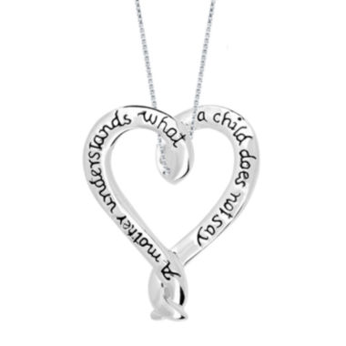 jcpenney.com | Inspired Moments™ Mom Sterling Silver Ribbon Heart Pendant Necklace