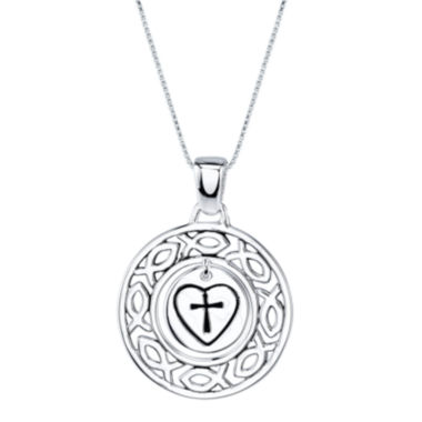 "jcpenney.com | Inspired Moments™ Sterling Silver ""He Is Love"" Charm Pendant Necklace"