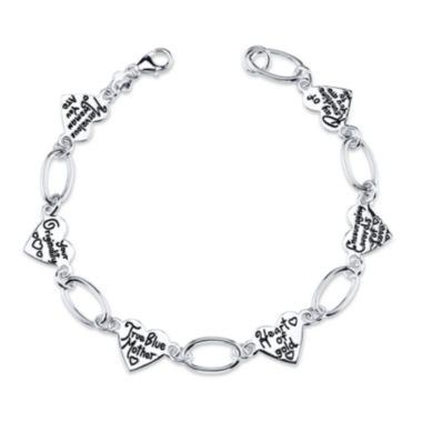 jcpenney.com | Inspired Moments™ Mom Sterling Silver Heart Link Bracelet