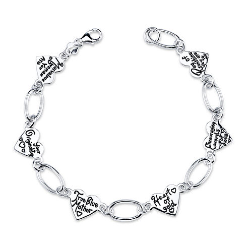 Inspired Moments™ Mom Sterling Silver Heart Link Bracelet