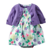 Carter's® Purple Floral Bodysuit Dress and Cardigan Set - Baby Girls newborn-24m