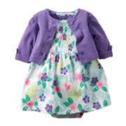 Carter's® Purple Floral Bodysuit Dress and Cardigan Set - Baby Girls newborn-24m