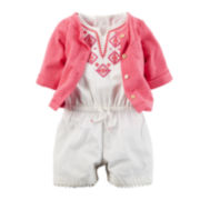 Carter's® 2-pc. Flutter-Sleeve Romper and Cardigan Set - Baby Girls newborn-24m