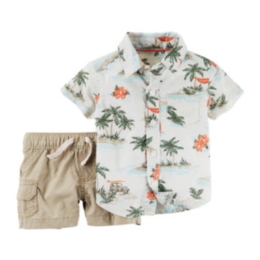 jcpenney.com | Carter's® Palm Tree Shirt and Shorts Set - Baby Boys newborn-24m