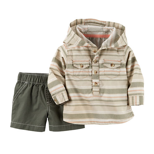 Carter's® Long-Sleeve Striped Hooded Shirt and Shorts Set - Baby Boys newborn-24m