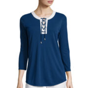 Liz Claiborne® 3/4-Sleeve Framed Lace-Up Knit Top