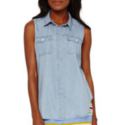 Liz Claiborne® Sleeveless Chambray Boyfriend Shirt
