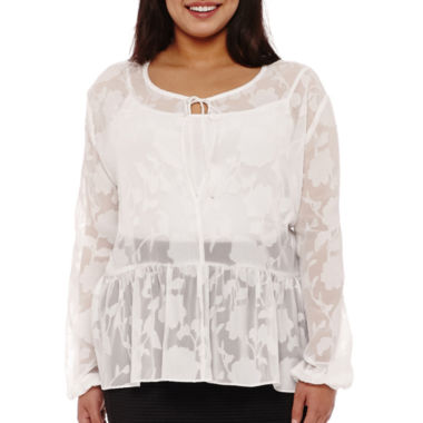 jcpenney.com | BELLE + SKY™ Long-Sleeve Peasant Top - Plus