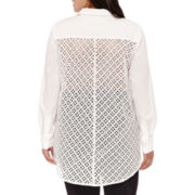 BELLE + SKY™ Long-Sleeve Button-Front Shirt with Eyelet Back - Plus