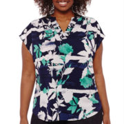 Liz Claiborne® Sleeveless Extended Shoulder Split Neck Top - Plus
