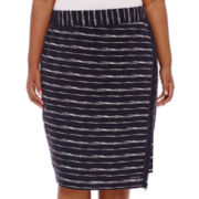Liz Claiborne® Linen Blend Midi Wrap Skirt - Plus