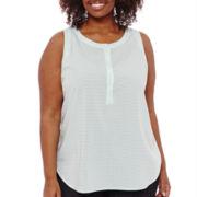 Liz Claiborne® Sleeveless Henley Popover Shirt - Plus