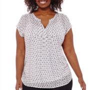 Liz Claiborne® Extended Shoulder Bib Popover Shirt - Plus