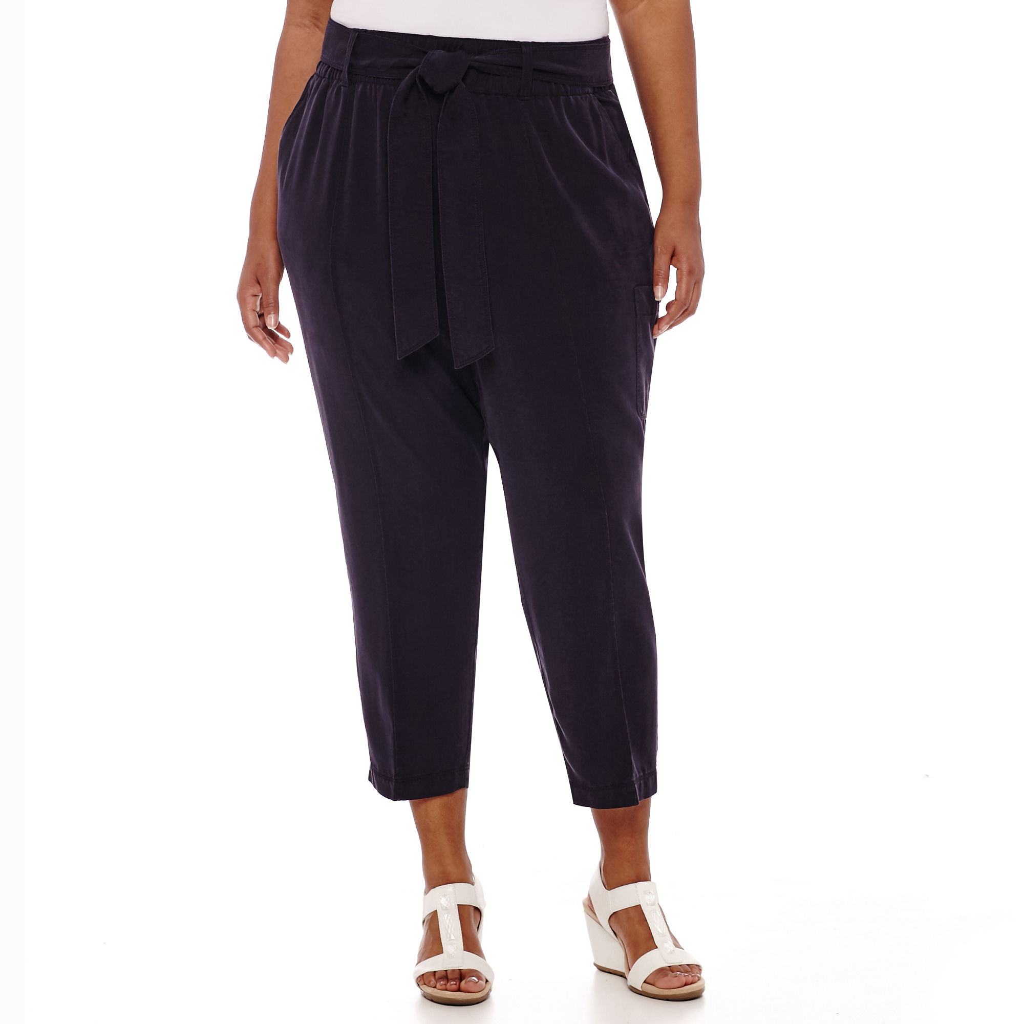 Liz Claiborne Pull-On Belted Cargo Cropped Pants - Plus