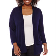 Liz Claiborne® Long-Sleeve Open-Front Cardigan Sweater - Plus