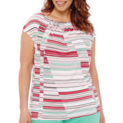 Liz Claiborne® Sleeveless Pleat-Neck Top - Plus