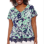 Liz Claiborne® Flutter-Sleeve Lace-Trim Top - Plus