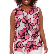 Liz Claiborne® Sleeveless Back Peplum Popover Top - Plus