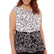 Liz Claiborne® Sleeveless Twin-Print Popover Top with Cami - Plus