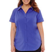 Liz Claiborne® Short-Sleeve Stretch Shirt - Plus