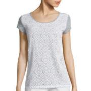 Liz Claiborne® Short-Sleeve Lace T-Shirt - Petite