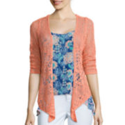 Arizona 3/4-Sleeve Knit Cardigan  - Juniors