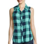 Arizona Sleeveless Plaid Button-Front Shirt