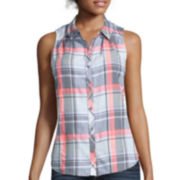 Arizona Sleeveless Plaid Button-Front Shirt