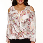 Bisou Bisou® Long-Sleeve Cold-Shoulder Flutter Top - Plus