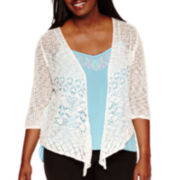 Arizona 3/4-Sleeve Knit Cardigan- Juniors Plus