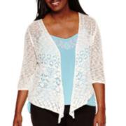 Arizona 3/4-Sleeve Knit Cardigan- Juniors Plus