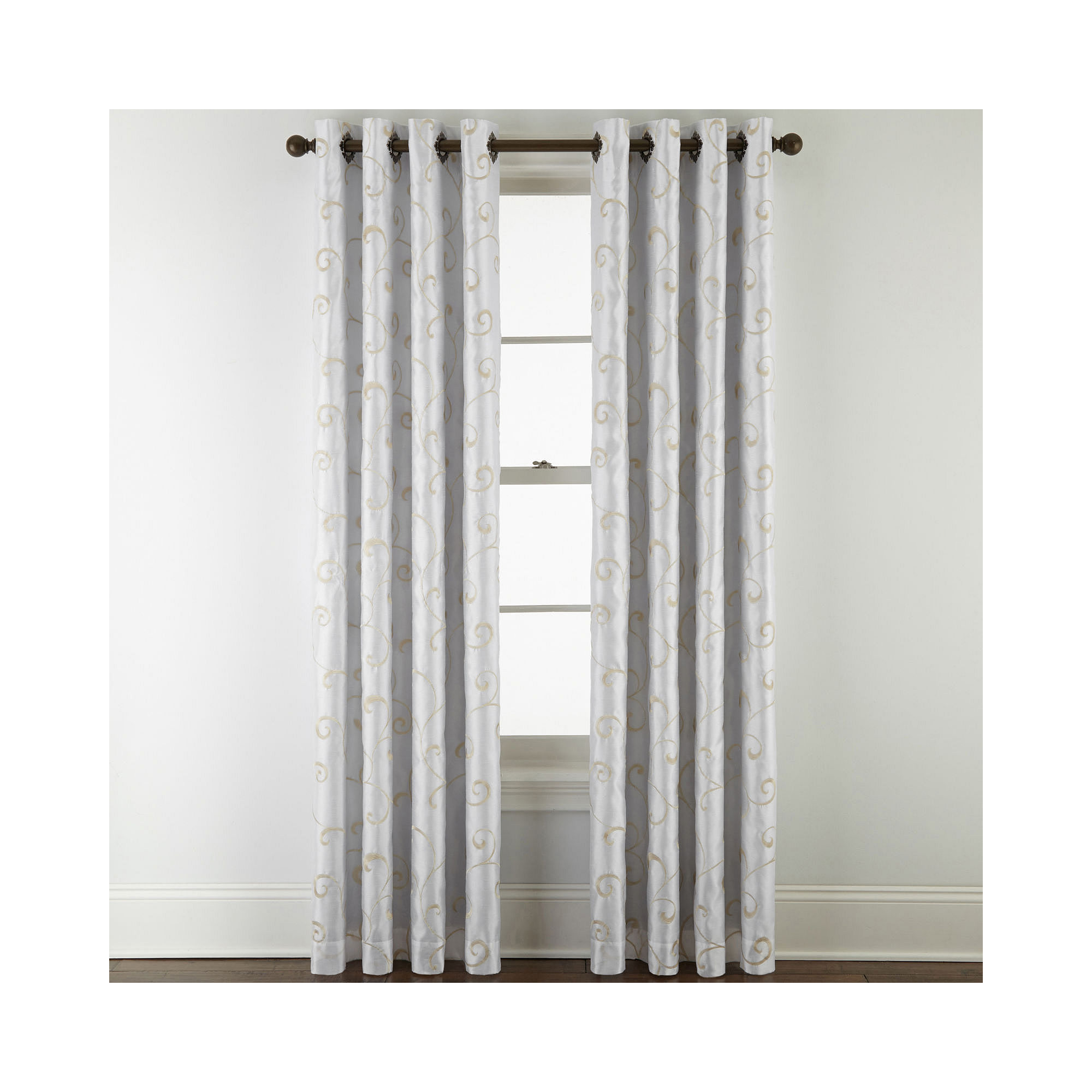 Upc 073182200018 Royal Velvet Plaza Embroidery Blackout Grommet Top 2 Pack Curtain Panels