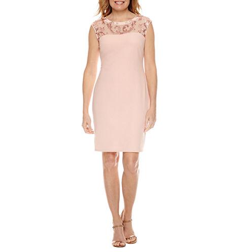 Blu SageCap Sleeve Embellished Lace Sheath Dress-Petites